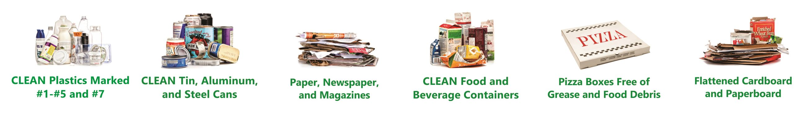 Images and text of 6 household items that are ok to recycle