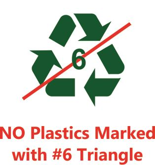 Picture of the number 6 recycle symbol with a red slash going through it
