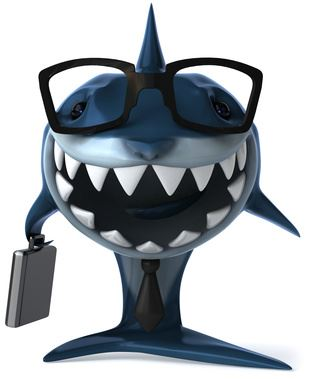Grinning cartoon shark wearing glasses and holding a briefcase.