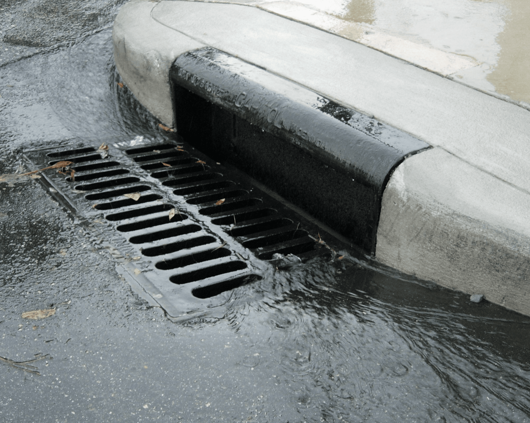 Picture of water flowing into a street storm drain
