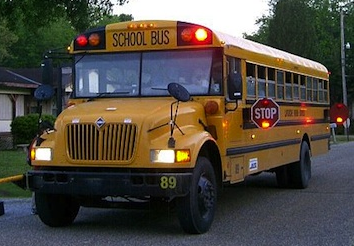 Picture of Stopped School Bus with Lights Flashing