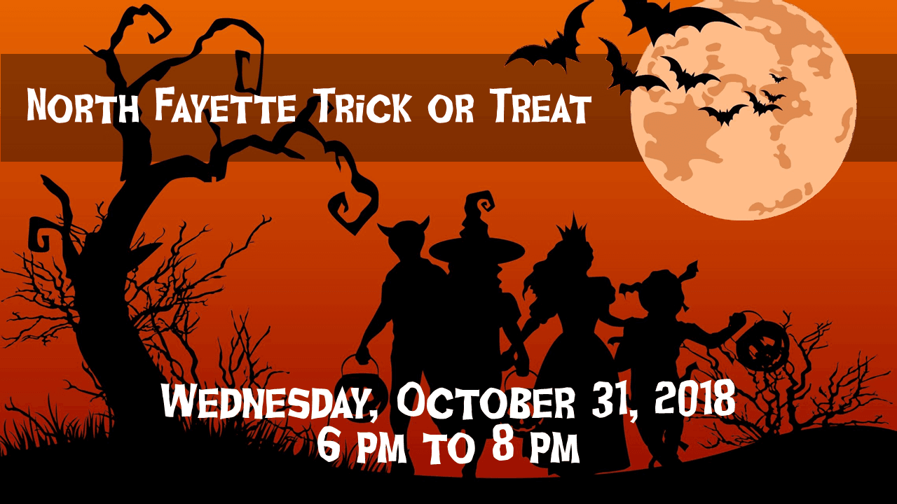 Halloween Graphic showing 2018 Trick or Treat times for North Fayette Township