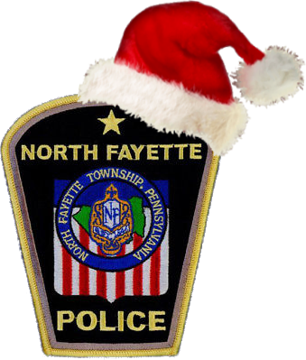 North Fayette Township Police Badge with Santa Hat on Top Right