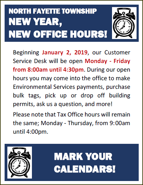 New Office Hours Starting Jan 2019