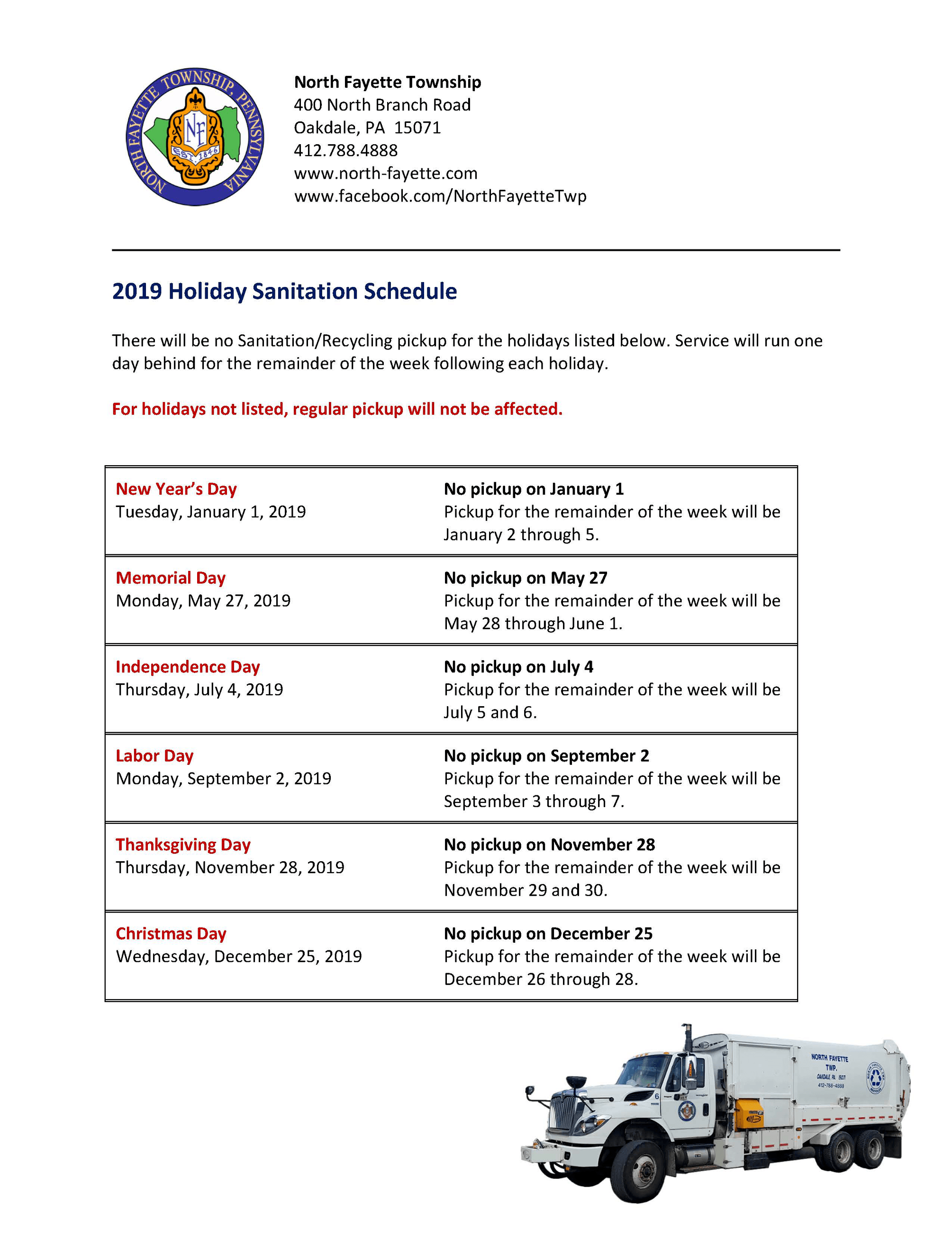 2019 Holiday Sanitation Schedule