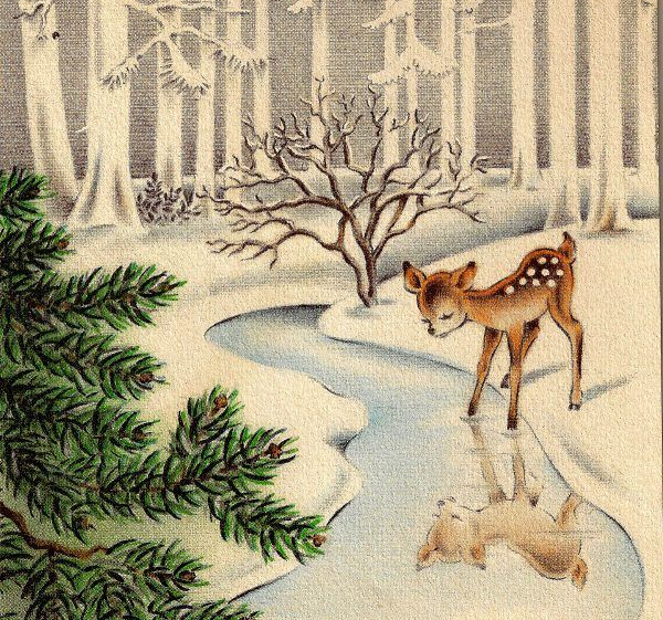 Vintage image of spotted deer in the woods