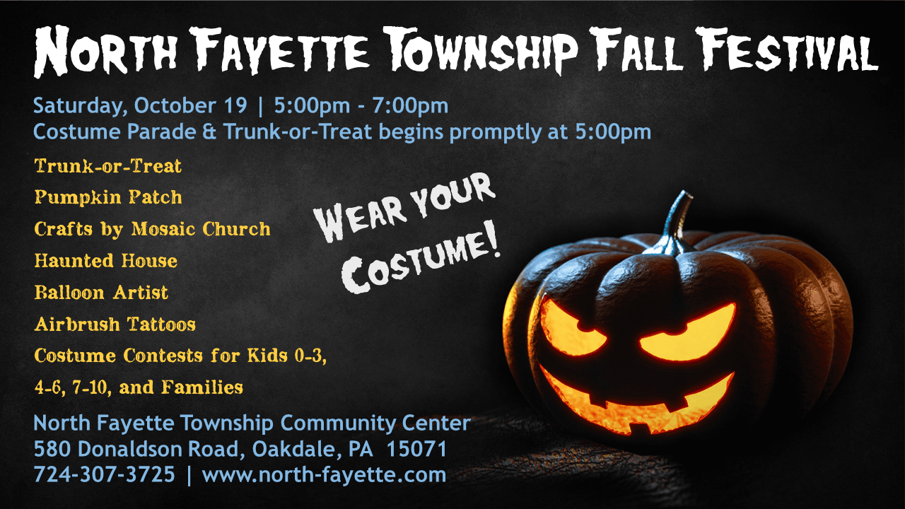 Halloween Graphic with Details of North Fayette Township's 2019 Fall Festival