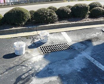 Paint Spilled Around Stormwater Drain