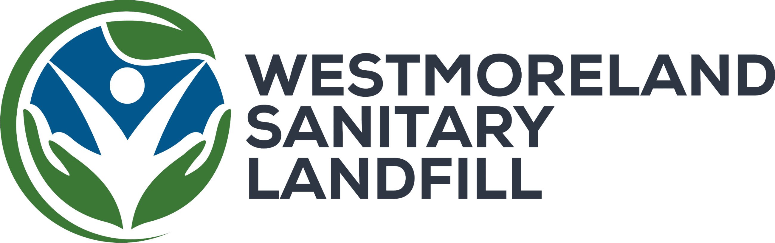 Logo for the company Westmoreland Sanitary Landfill containing the words Westmoreland Sanitary Landf