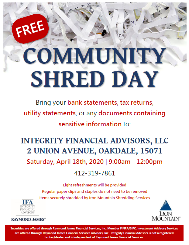 Community Shred Day Flyer Describing details of event. Details of event are oulined in text on this