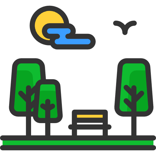 Icon Image of trees, an outside bench, sun, cloud and flying bird.