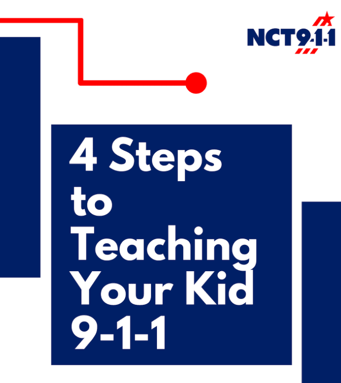 "Graphic with the words Ř steps to teaching your kid 911""."