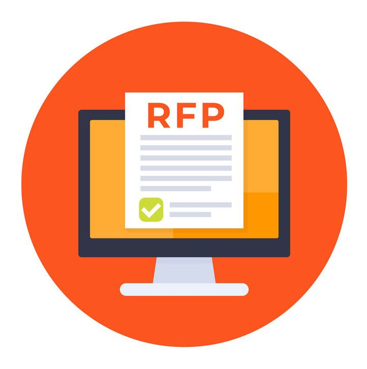 "Computer Screen Icon with graphic representation of a piece of paper with the letters ""RFP"" (m"