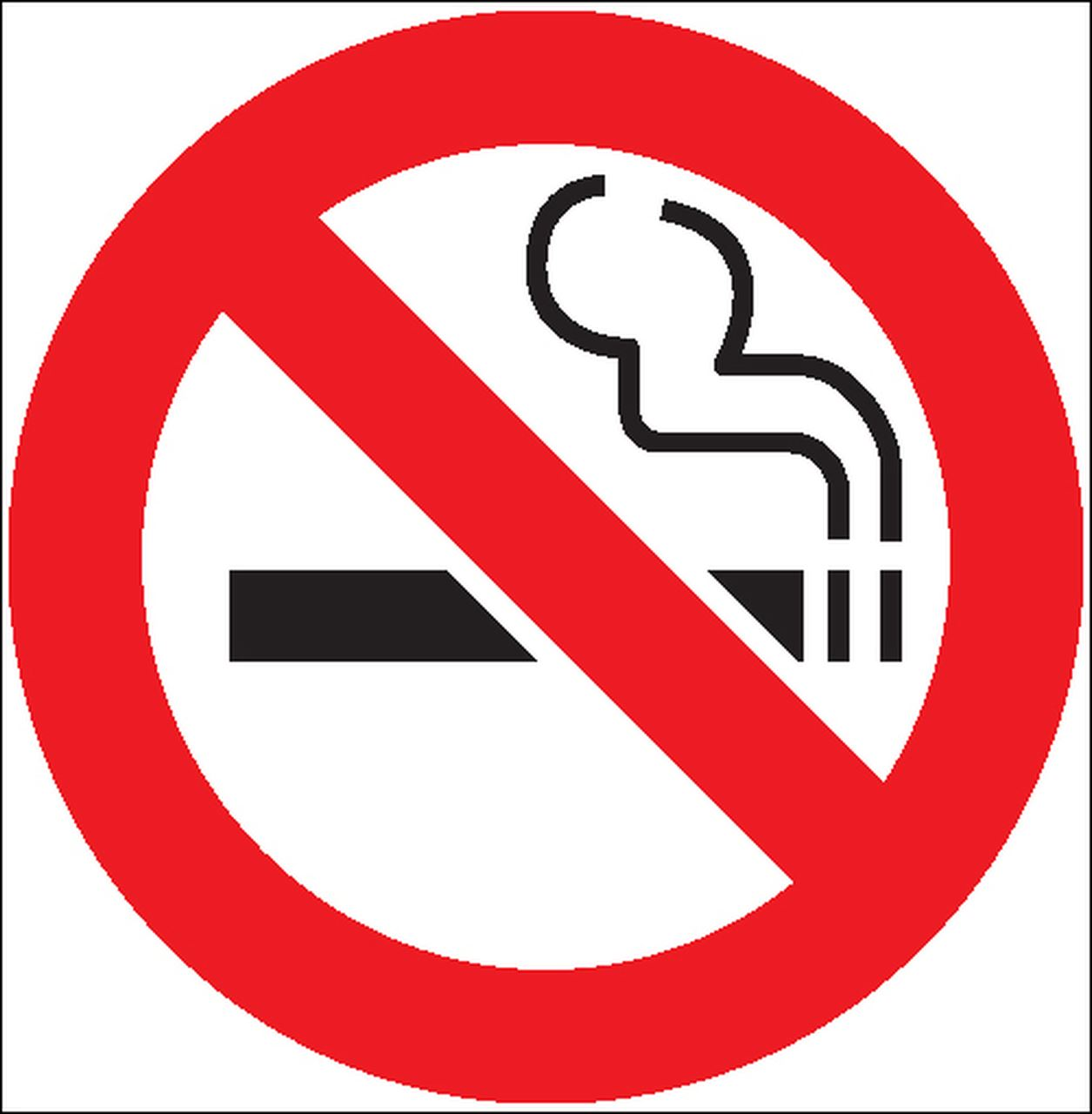 No smoking symbol, red circle with slash cutting through a representation of a cigarette
