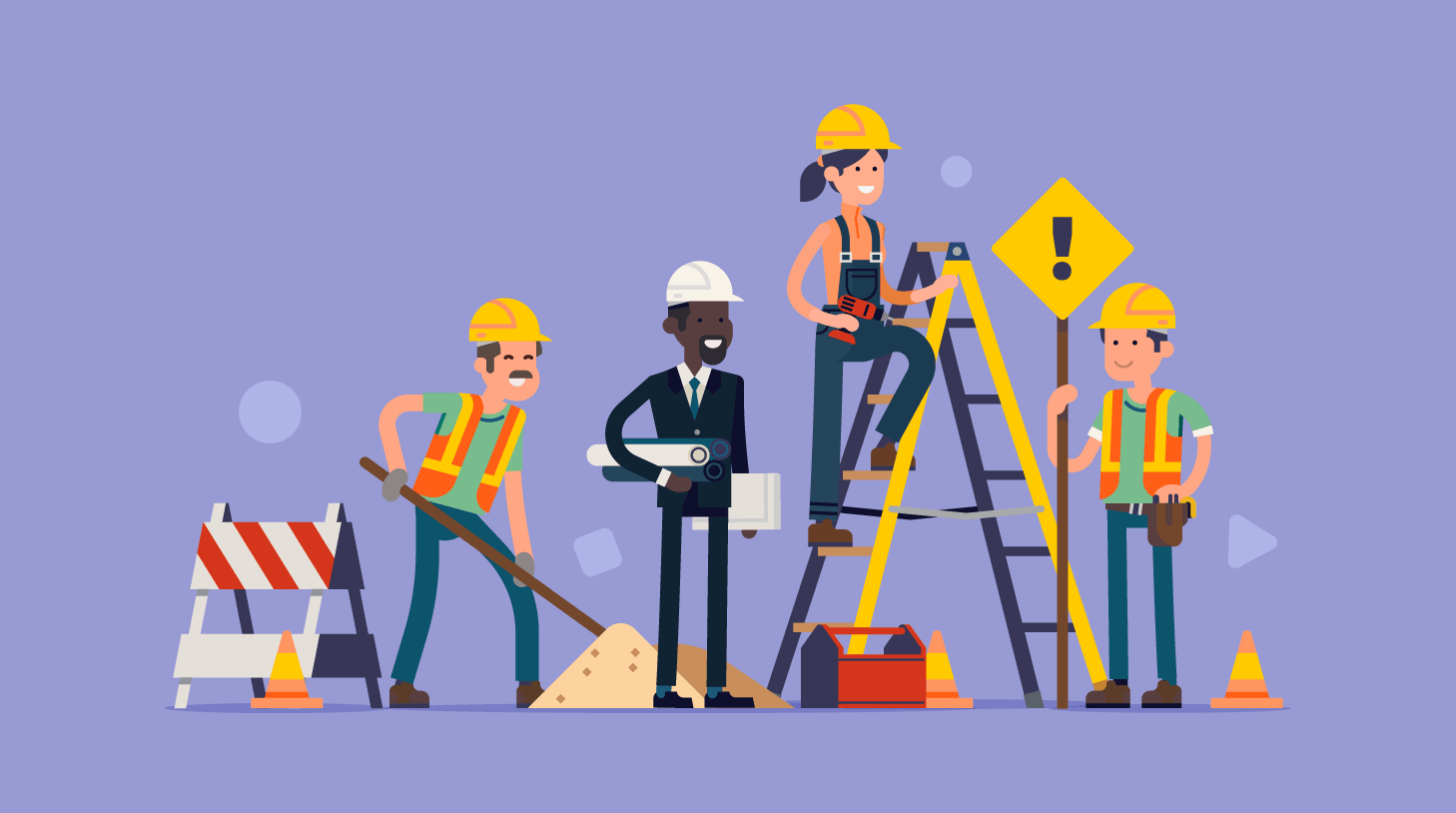 Stylized image of construction workers