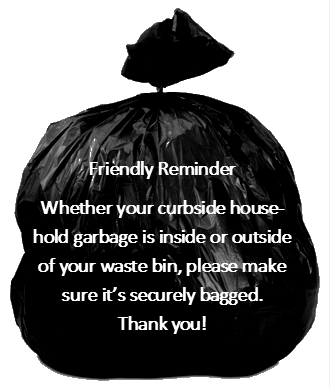 Garbage Bag Graphic Reminding Residents to Bag all curbside garbage, whether in a can or not.