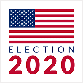 American flag Image with the words Election 2020
