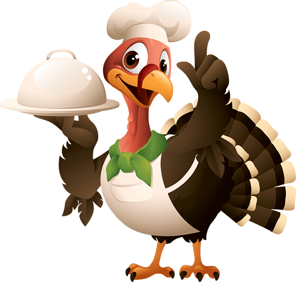 Cartoon image of a turkey wearing a chef's hat holding a large silver food platter with a lid.
