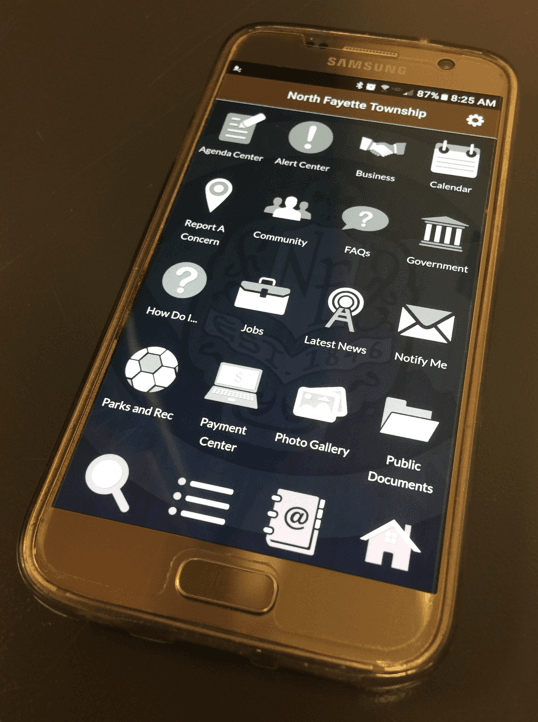 Smartphone with North Fayette Township App Open