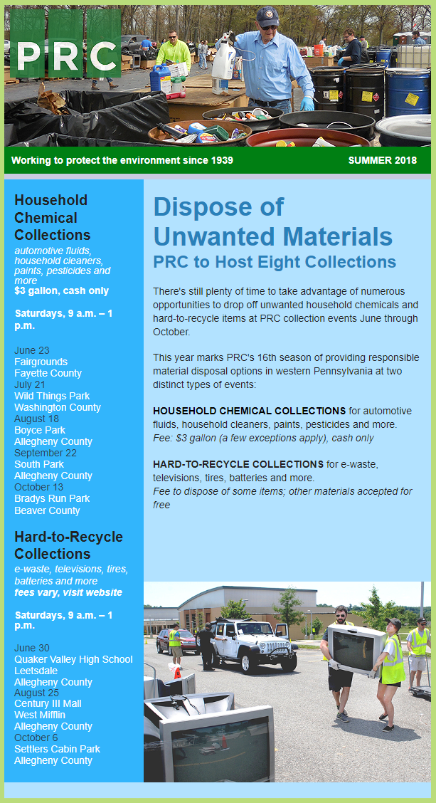 Pennsylvania Resources Council (PRC) Summer 2018 Collection Events Information