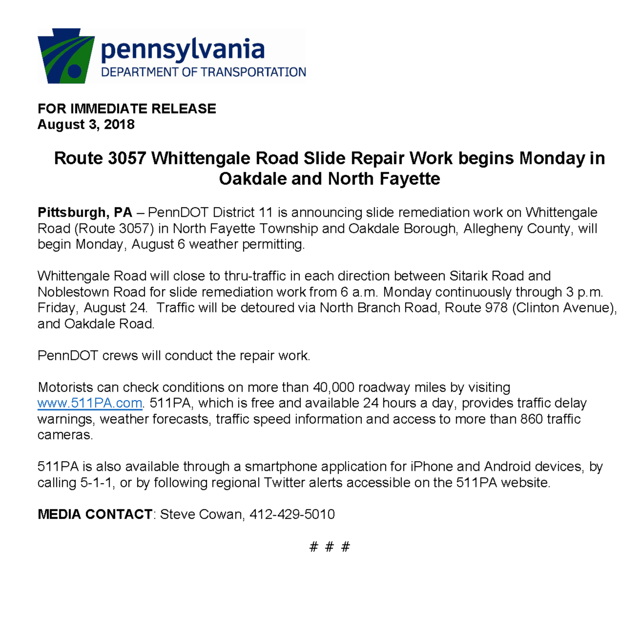 PennDOT Release of Whittengale Road Closures