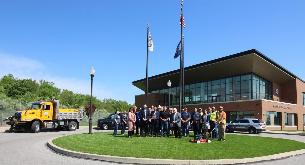 Photo of Chamber of Commerce representatives and Township Staff in front of the North Fayette Townsh