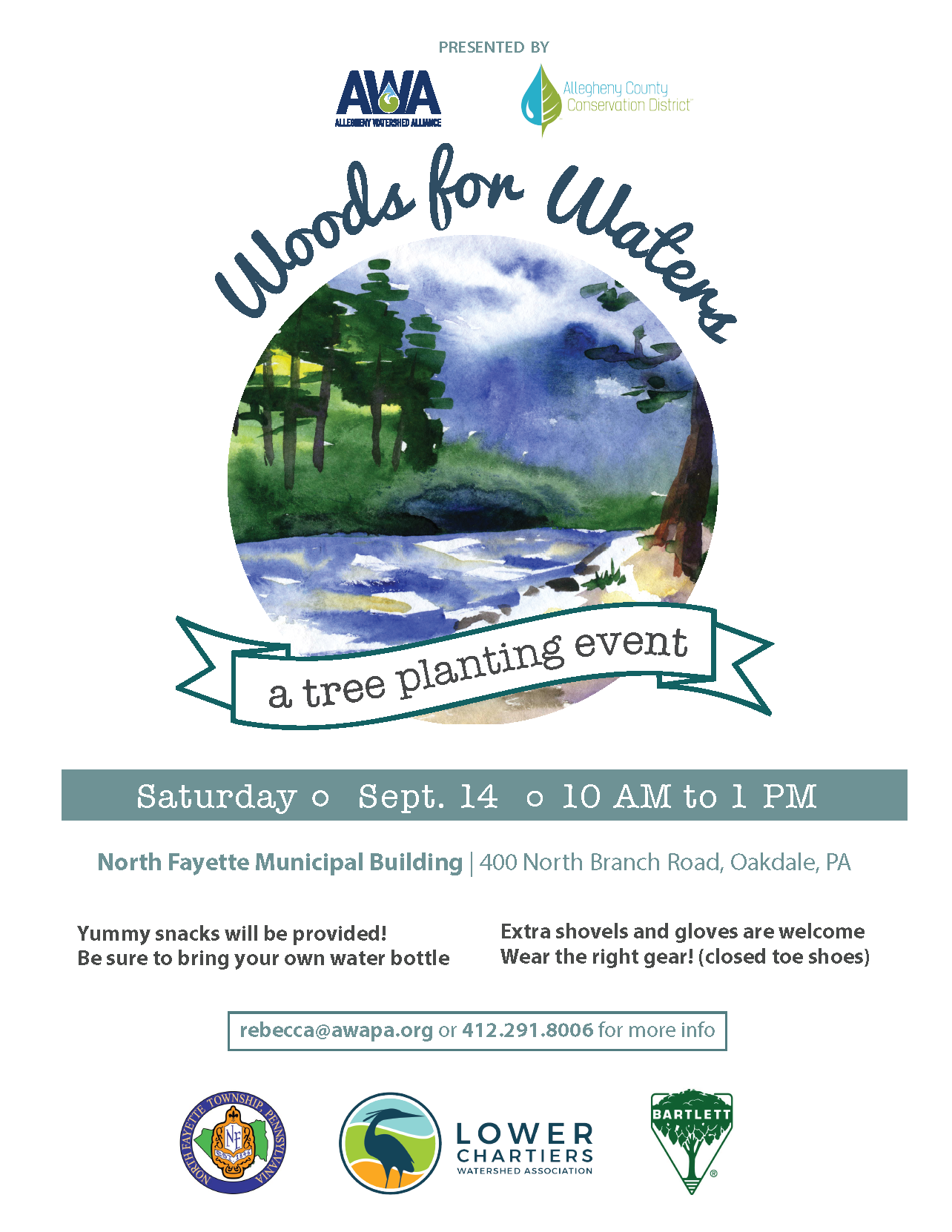 Flyer containing information for the North Fayette Township volunteer Tree Planting event taking pla