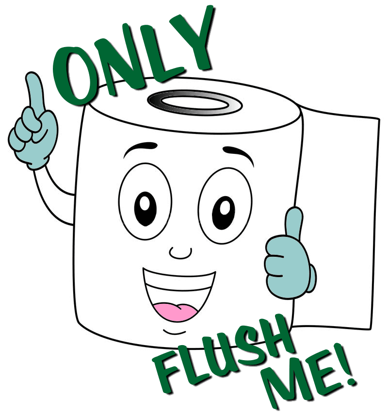 "Cartoon image of a roll of toilet paper with the words ""only flush me""."