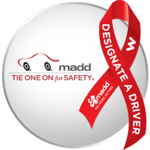 Image with MADD logo and Tie one on for Safety red ribbon